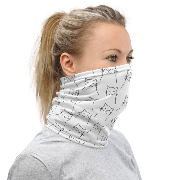Happy Cat Neck Gaiter White