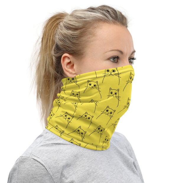Trippy Cat Neck Gaiter Yellow