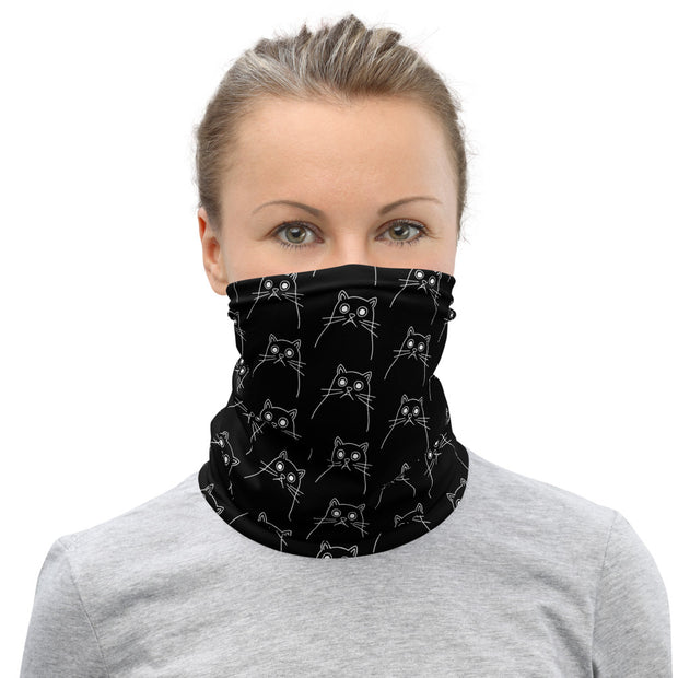 Trippy Cat Neck Gaiter Black
