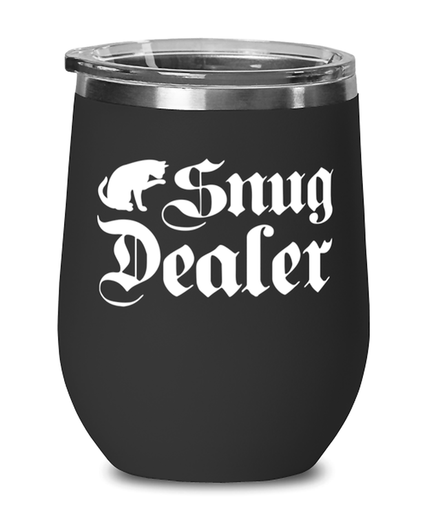 Snug Dealer Black Insulated Wine Tumbler w/ Lid, Gift For Cat Lovers, Wine Glasses Gift For Her, Him, Sister, Brother, Friend, Birthday, Just Because Present Ideas For Cat Lovers
