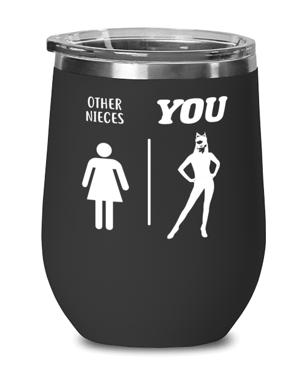 Other Nieces YOU Black Insulated Wine Tumbler w/ Lid, Gift For Cat Loving Nieces, Wine Glasses Gift For Niece, Birthday, Christmas, Just Because Present Ideas For Cat Loving Nieces