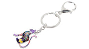 Floral Heart Cat Key Chain And Bag Charm