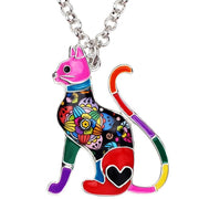 Elegant Enamel Floral Cat Pendant Necklace - 6 Color Options