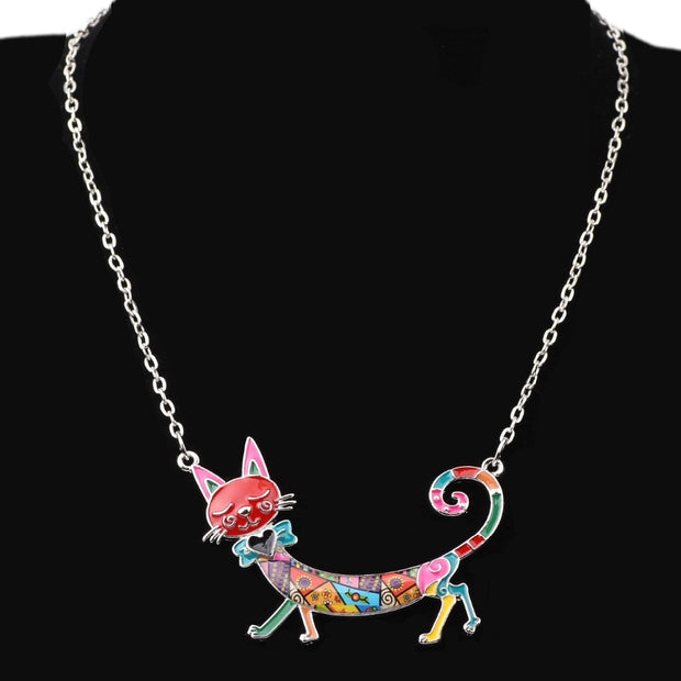 Heart Bow Tie Cat Necklace - 6 Color Options