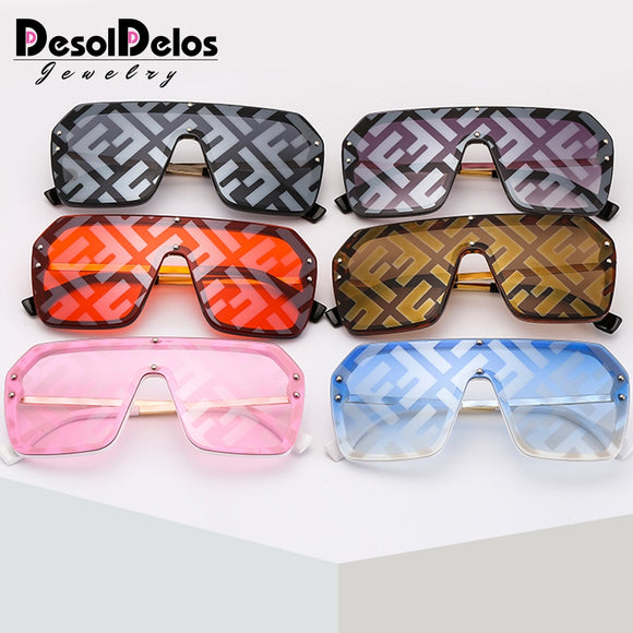 New Large Frame Conjoined Sunglasses F Watermark Letters Hip-hop Men Women Sunglasses Fashion.