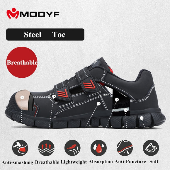 Men Steel Toe Cap Shoes Leather Breathable Labor Insurance Puncture Proof Casual Sandal Mens Safety Work Shoes Free Shipping
