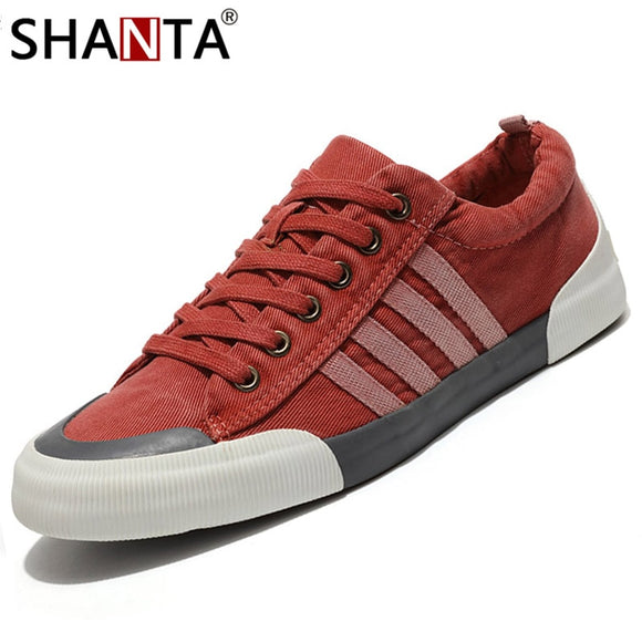 SHANTA Men Canvas Shoes 2019 Fashion Solid Color Men Vulcanized Shoes Lace-up White Casual Shoes Men Sneakers