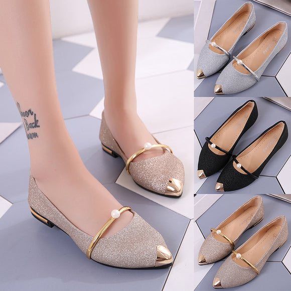 Shoes women spring new pearl shallow-mouthed chic single shoes 100 lap flat shoes  women's shoes