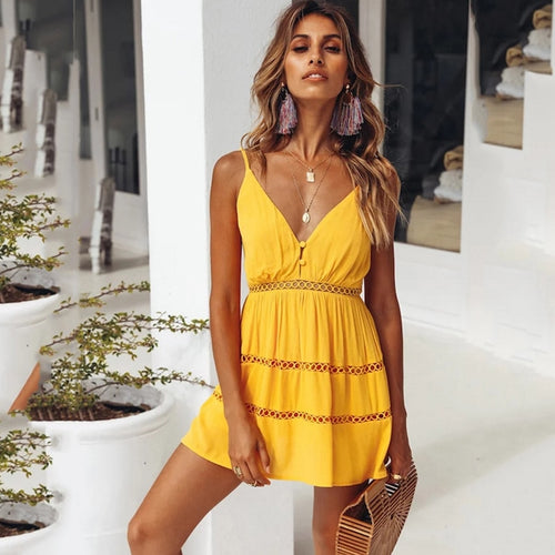 2019 Women summer mini sexy dress women Lace deep V Neck Beach mini backless