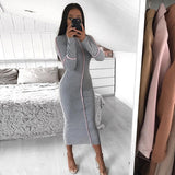 NewAsia Sexy Bodycon Dress Women 2019 Pink Long Sleeve Contrast Stripe High-necked Casual Long Dress Elegant Autumn Dress Black