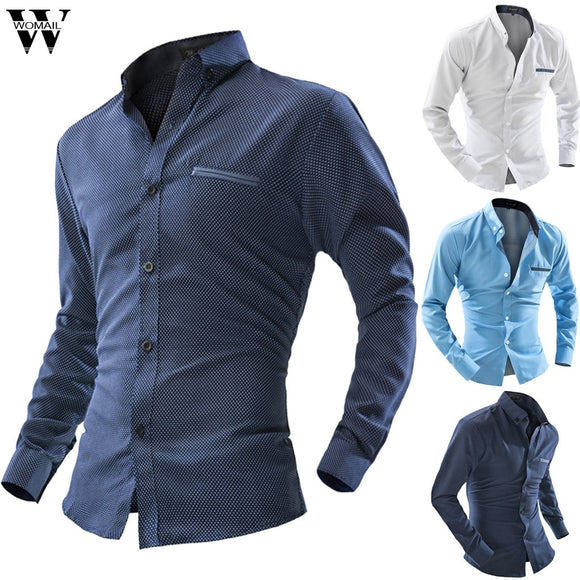 Men Business Shirts Casual Button Long Sleeve Shirt Slim Fit Stand Collar High Quality fashion New 2019