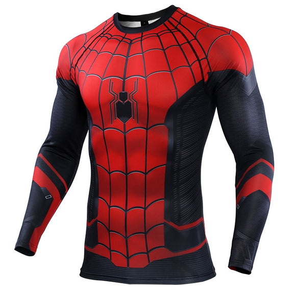 Spider-man Compression Shirt Rashguard Sport Shirt Men Print Cosplay Spiderman