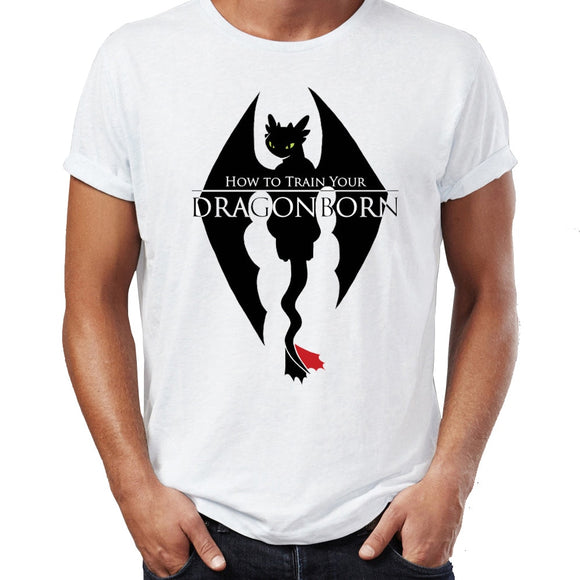 Men's T Shirt Skyrim Dragonborn Toothless Dragon Funny Awesome Artwork Printed Tee