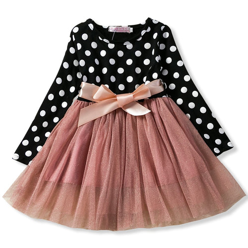 Autumn Winter Girl Dress Long Sleeve Polka Dot Girls Dresses Bow Princess Teenage Casual Dress Daily Kids Dresses For Girls
