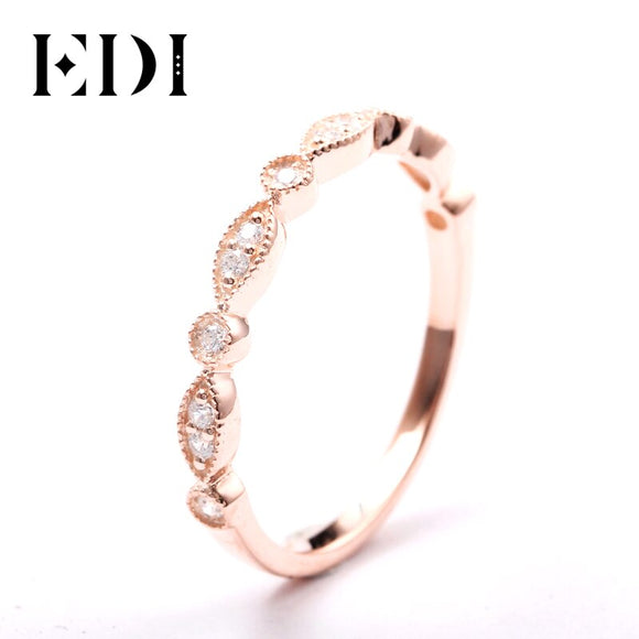 EDI 14kt Rose Gold Natural Diamond Band Ring Fine Jewelry Gifts For Women Diamond Infinity Ring Dainty Ring