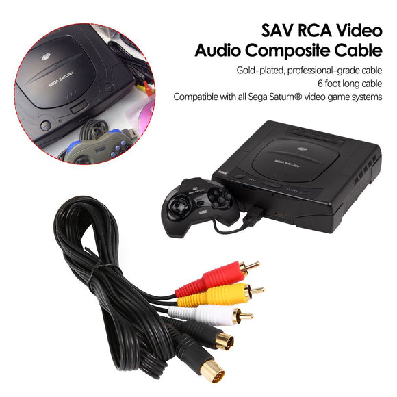 Gold Plated SAV RCA Video Audio Cable for Sega Saturn