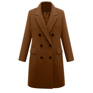 Winter Coat Women Lapel Wool Coat