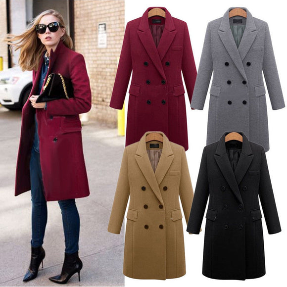 Winter Coat Women Lapel Wool Coat Long