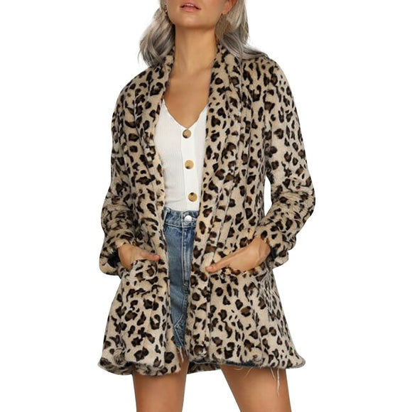 Leopard Print Pocket Notched Coat Top Women Long Sleeve