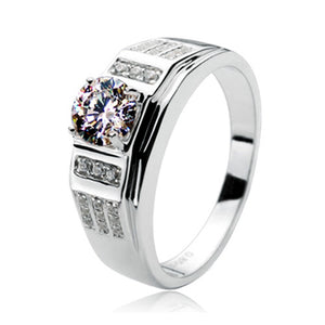 Xmas Classic style Excellent 0.85ct SONA simulate diamond ring for man Genuine Sterling silver wedding men ring