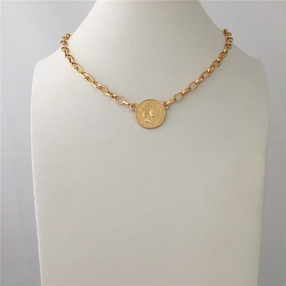 TRENDY GOLD COLOR COIN PENDANT NECKLACE FOR WOMEN