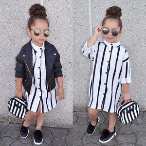 New Casual Long Sleeve Buttons Shirt Dresses Striped Girls Kids Dress Clothes 1-6 Yrs old
