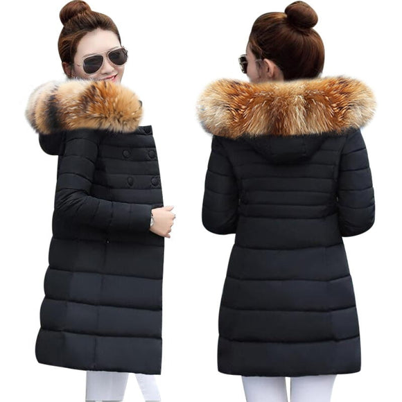 Fake Fur Collar Winter Female Jacket New 2019 Fashion Coat Women Winter Coat Slim Women Parka Warm Hooded Winter Jacket Women