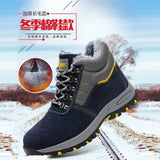 Winter Men Safety Work Boots Warm Plush Fur Mens Labor Insurance Puncture Proof Snow Boot Man Steel Toe Cap Shoes Male