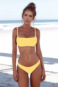 Lefeel 2019 Sexy Bikini Set Women Swimsuit Solid Bikini Backless Swimwear Low Waist Bathing Suit Female Brazilian Biquini