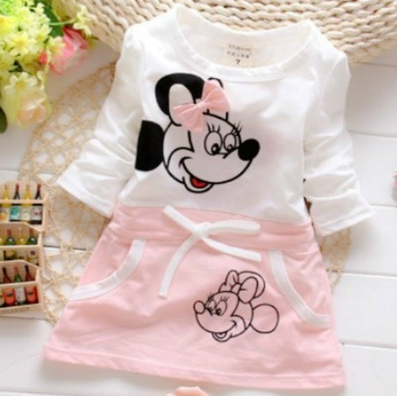 The New Fashion Summer Princess 100% Cotton Dress  Minnie Beautiful Princess Girl For Round Brought DRESS