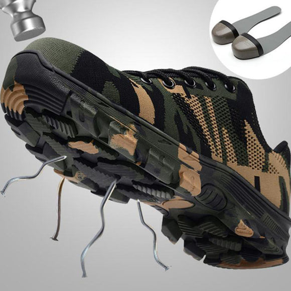 Work Boots Construction Men's Outdoor Steel Toe Cap Shoes Men Camouflage Puncture Proof High Quality Safety Shoes Big Size