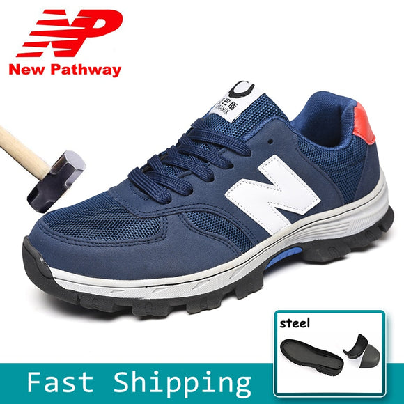 Cow Leather Safety Shoes Breathable Steel Toe
