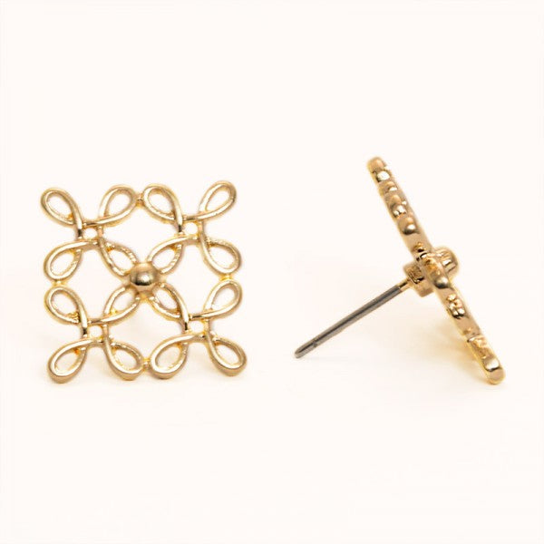 Square Cross Gold Stud