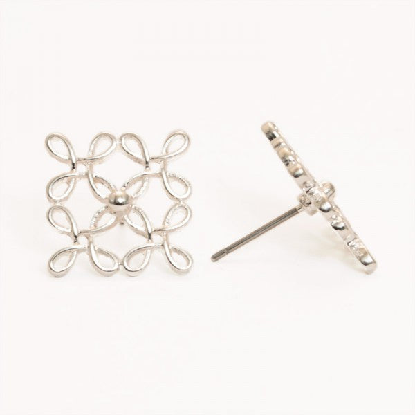 Square Cross Silver Stud