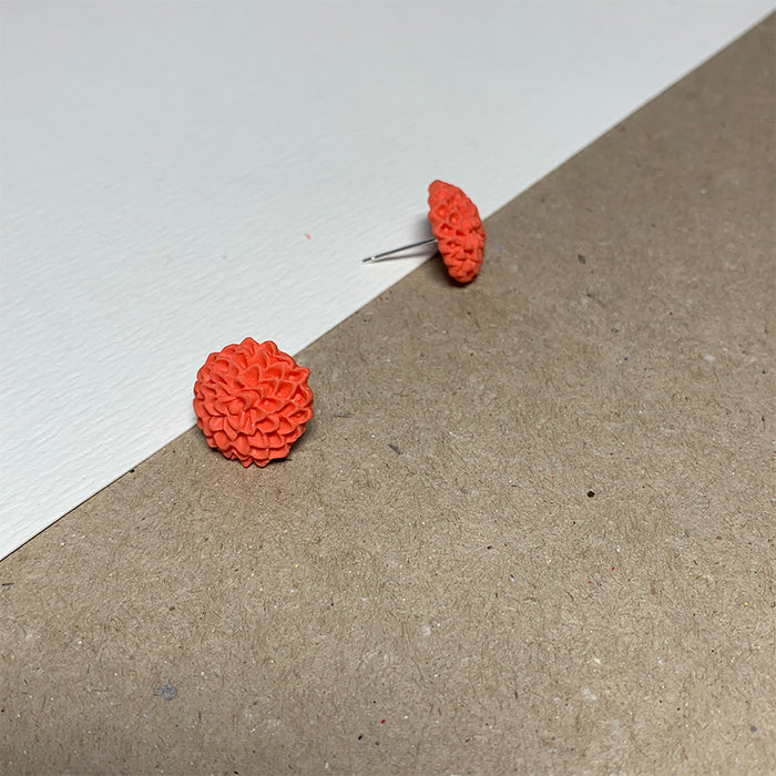 Coral Chrysanthemum Handmade Stud Earrings