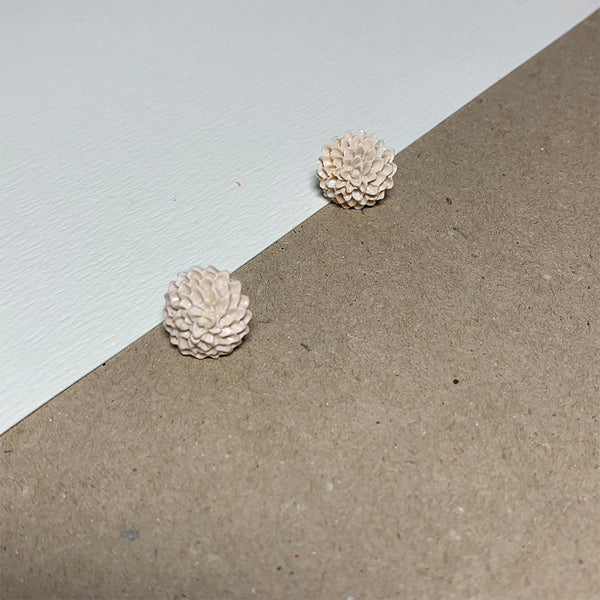 Nude Chrysanthemum Handmade Stud Earrings
