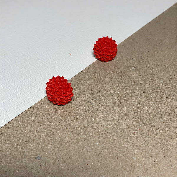 Red Chrysanthemum Handmade Stud Earrings