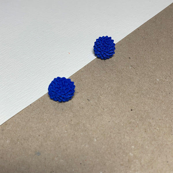 Blue Chrysanthemum Handmade Stud Earrings