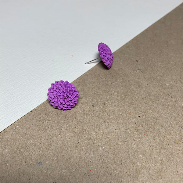 Lilac Chrysanthemum Handmade Stud Earrings