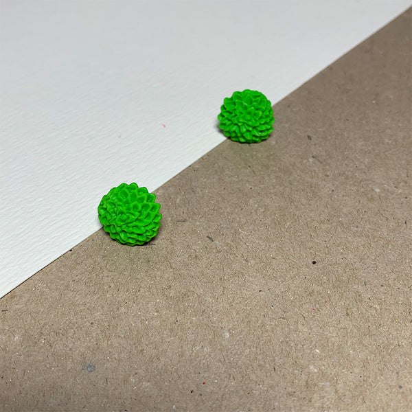 Lime Green Chrysanthemum Handmade Stud Earrings