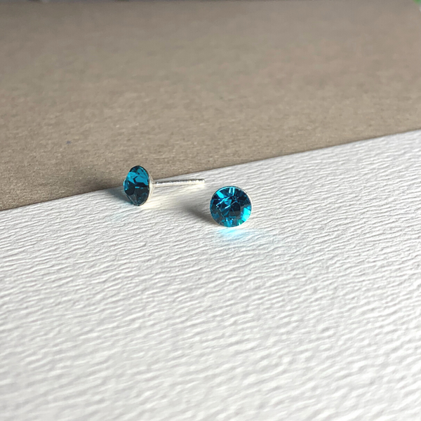 Dainty Swarovski Element Stud Earring Blue Zircon