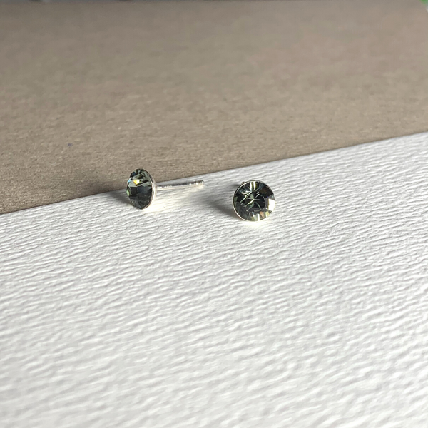 Dainty Swarovski Element Stud Earring Black Diamond