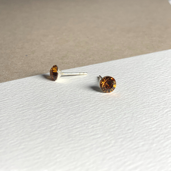 Dainty Swarovski Element Stud Earring Tangerine Orange