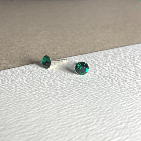 Dainty Swarovski Element Stud Earring Emerald