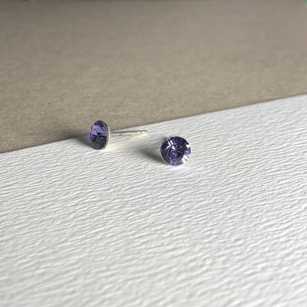 Dainty Swarovski Element Stud Earring Tanzanite Purple
