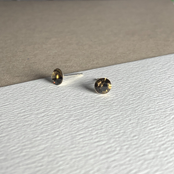 Dainty Swarovski Elements Stud Earring Smokey Quartz