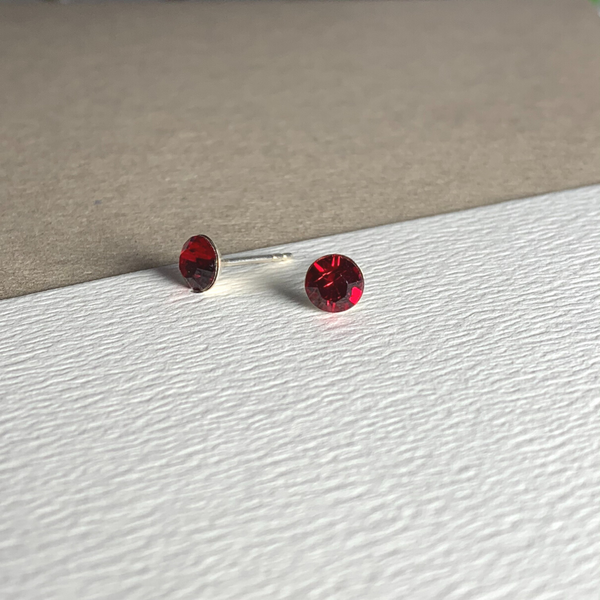 Dainty Swarovski Element Stud Earring Siam Red