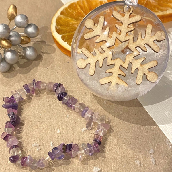 Christmas Bauble gift with Amethyst Bracelet