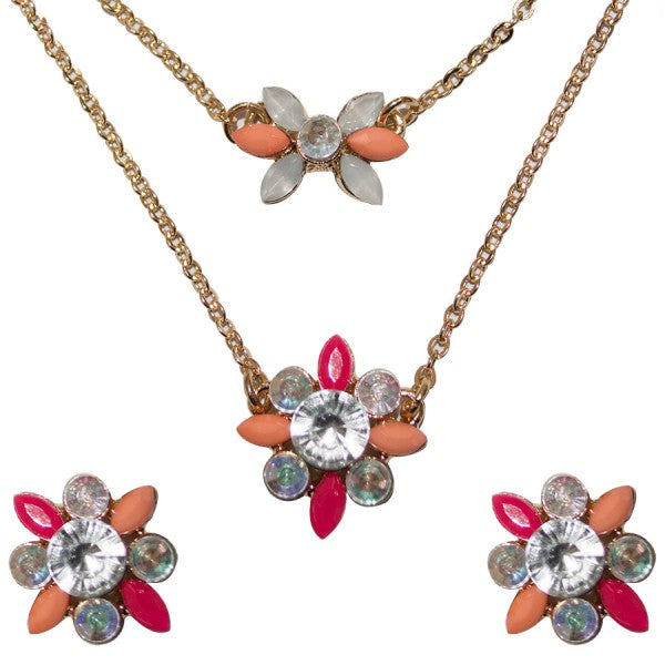 So Pretty Pink Flower Necklace and Earrings
