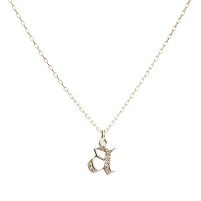 14K Gold + Diamond Gothic Lowercase Letter Necklace
